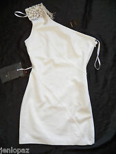 NWT bebe Dress cream white sequin beaded one shoulder skirt top L 10 party sexy