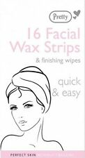 pretty facial wax strips & finishing wipes face hair chin upper lip jaw x 16