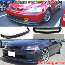 Mu-gen Style Front Lip (PU) + TR Style Grill (Mesh) FIts 96-98 Honda Civic 2dr