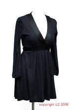 L245/14 Zara Black Sexy Deep V Neck Jersey Tunic Dress, size M UK 10
