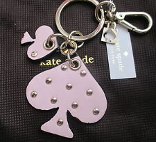 NWT Kate Spade Studded Leather Spade Key Fob Chain Keychain w/Pouch Pink