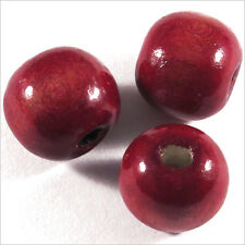 Lot de 20 Perles rondes en Bois 12mm Rouge Bordeaux