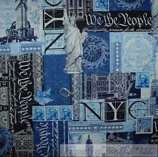BonEful Fabric FQ Cotton Quilt Blue NYC New York City 911 America Patchwork Word