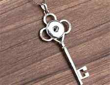 DIY 1pcs key Alloy Pendant With Charm Necklace Fit Snap Chunk Button NEW C3