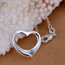 Womens 925 Sterling Silver Plated Hollow Heart Pendant and Necklace.18 in Chain