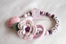 Schnullerkette mit Namen Blume Krone rosa Mädchen Geburt Taufe Geschenk