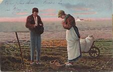 BF33821 peasant praying  painting art front/back scan