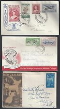NEW ZEALAND 1950's 60's COLLECTION OF FIVE FDCs INCLUDING PEACE HEALTHY STAMPS
