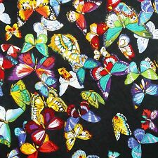 "Pure Cotton Black Fabric Butterfly Print Crafting 41"" Wd Making Kurti India 1 Pc"