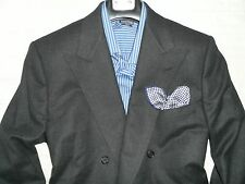 SCIORTINO TAILORS Bespoke Men's Gray Peak Lapel 6x2 DB 100% Wool Suit 44L 37WX32