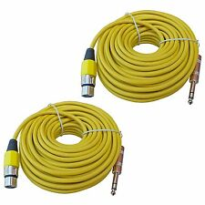 2 XLR 3 pin female to 1/4 TRS mic microphone extension patch cables 50 ft foot