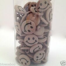10 x smiley face buttons 15mm pink white green blue peach red yellow