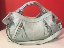B.Makowsky Blue Leather Diagonal Zip Horizontal Tote Shoulder Bag Handbag GUC