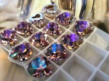 3 Swarovski Vintage Heart Sew on 11x10mm Lt Amethyst 4800 CRAFT Post Free UK