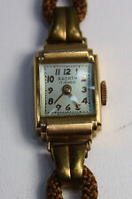 Vintage Antique Deco Ardath Solid 14k Rose Gold Tank Wrist Watch Woven Band EUC