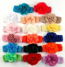 Lot 5 lace elastic headband with flower for baby girl infant photoshoot etsy