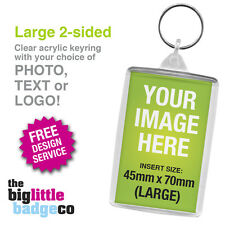 PERSONALISED * CUSTOM ACRYLIC KEYRING LARGE 70mm x 45mm * Photo * Logo * 2-Sided