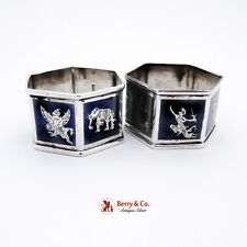 Pair Of Vintage Siam Niello Napkin Rings Sterling Silver 1940