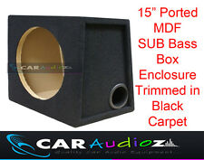 "15 ""POLLICI 38cm Singolo porting BLACK carpeted SUBWOOFER AUTO BOX MDF BASS Enclosure +"