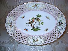 7350/RO Lg Oval Open Weave Fruit Candy Dish Herend Hungary Rothschild Porcelain