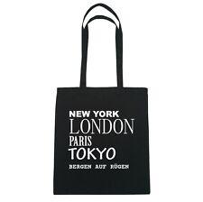 New York, London, Paris, Tokyo BERGEN AUF RÜGEN   - Jutebeutel Tasche - Farbe: s