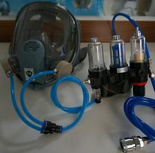 Full Face Fresh AIR FED Visor BREATHING MASK Supplied KIT For Gas PAINT SPRAY