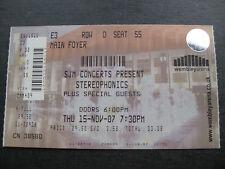 STEREOPHONICS  LONDON  15/11/2007 UNUSED TICKET