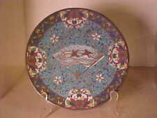 ANTIQUE CHINESE CLOISONNE PLATE TRAY BIRDS IN FAN