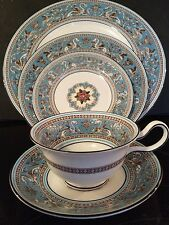 3 Sets Wedgewood Florentine Turquoise W2714- Floral Center, Black Backstamp