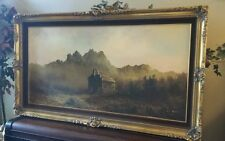 VERY LARGE FRAMED LESTER HUGHES ORIGINAL OIL ON CANVAS,TEXAS PAINTING