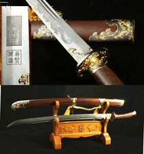 37'FULL TANG SHARP DAMASCUS FOLDED STEEL BLADE DRAGON CHINESE SWORD QING DAO 清刀