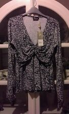 J'ADORE DESINGER BLACK & GREY STRETCH FITTED STYLE BLOUSE TOP SIZE 14-16 BNWT