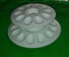 Tupperware White Two Tier Deviled Egg Server Holder Tray Serving Plate Holds 24
