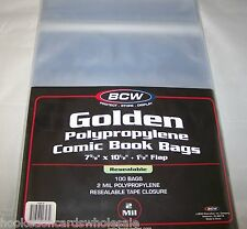 1 Case 1000 BCW Golden Resealable 7 5/8' Comic Book Storage Bags