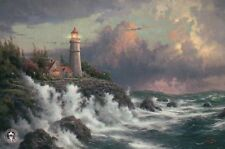 Conquering The Storms - Lighthouse, Ocean Waves - Thomas Kinkade Dealer Postcard
