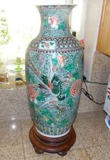 "ANTIQUE CHINA CHINESE WUCAI VASE FAMILLE  URN LARGE HAND PAINTED 22""T"