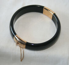 VINTAGE 14K Gold Hinged Stamped Black Jade Bracelet Bangle *