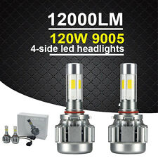 2PC 9005 HB3 120W 12000LM COB LED Car Headlight Kit White Beam 6000K Bulb 4-Side