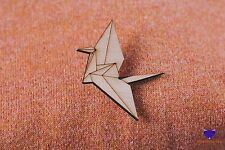 Origami Crane Cute Wooden Wood Brooch Badge Jewellery