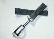 24mm CARRERA CALIBRE Silicon Rubber Band Strap w/ Deployant Clasp for TAG Heuer