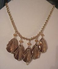 Jennifer Lopez Gold Tone 5 Large Amber Stone w Chains Necklace FREE S&H $42 JLO