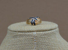 Channel-set Blue Sapphire Ribbed ring ** size 8 - 14K Yellow Gold – QVC Retired