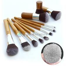 Natural Bamboo Handles Soft Bristles Eco-friendly 11 pcs Kabuki Makeup Brush Set