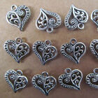 PJ029 20pc Hollow out Tibetan Silver Heart-shaped Dangle Charm Beads 14*15mm