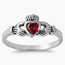USA Seller Claddagh Ring Sterling Silver 925 Best Baby Jewelry Garnet CZ Size 3