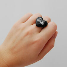 Cute black heart shaped barbie doll ring kawaii cute japan lolita pin up emo