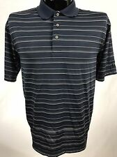 PGA Tour Golf Casual Polo Shirt Mens Performance Polyester S/S Blue Striped L