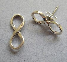 Mexican 925 Silver Taxco Solid INFINITY FOREVER Symbol Shiny Stud Post Earrings