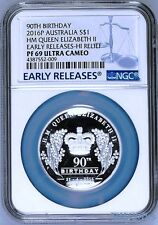 2016 QUEEN ELIZABETH 90th Birthday Silver $1 High Relief coin NGC PF69 UCER 9999