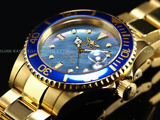 Rare EUC Invicta 4619 Swiss Made Automatic Blue MOP 18K Gold IP Sapphire Diver